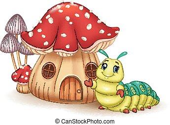 bonito, casa, cogumelo