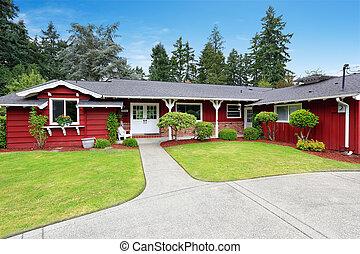 bonito, casa, recurso, meio-fio, vermelho