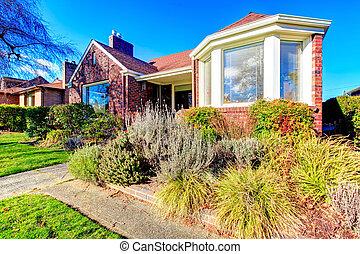 bonito, casa, tijolo, vermelho