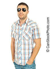 bonito, casual, homem, com, óculos de sol