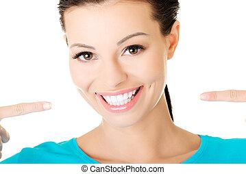 bonito, casual, mulher, mostrando, dela, perfeitos, branca, teeth.