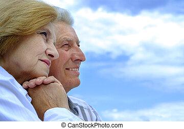 bonito, caucasiano, par ancião
