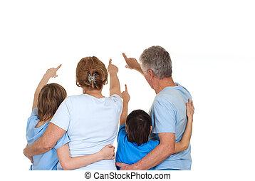 bonito, caucasiano, par ancião, com, seu, grandchildren