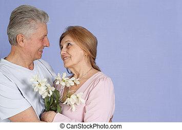bonito, caucasiano, par, de, pessoas anciãs