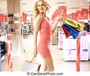 bonito, centro comercial, shopping mulher