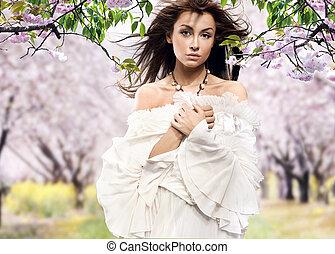 bonito, cereja, morena, posar, pomar
