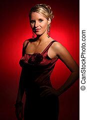bonito, cetim, mulher, vestido, vermelho