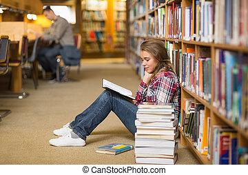 bonito, chão, livro biblioteca, leitura estudante