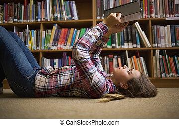 bonito, chão, livro biblioteca, leitura estudante, mentindo