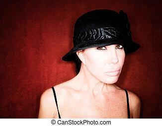 bonito, chapéu, mulher, pretas