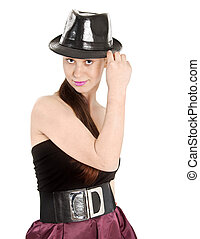 bonito, chapéu, mulher, pretas, jovem