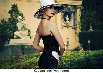 bonito, chapéu, outdoors., mulher