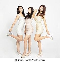 bonito, cheio, grupo, jovem, comprimento, mulher, asiático