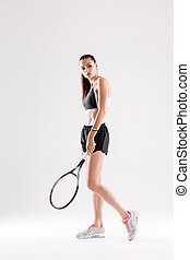 bonito, cheio, jovem, esportes, comprimento, retrato mulher, roupa