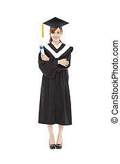 bonito, cheio, jovem, graduação, comprimento, mulher