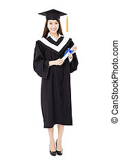 bonito, cheio, jovem, graduado, comprimento, mulher, faculdade, retrato