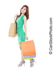 bonito, cheio, saco shopping, comprimento, mulher