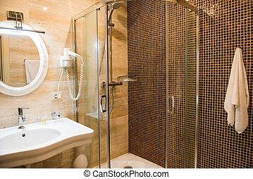 bonito, chuveiro, banheiro, luxo, vidro
