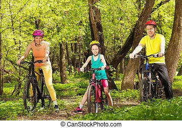 bonito, ciclismo, floresta, família, esportes