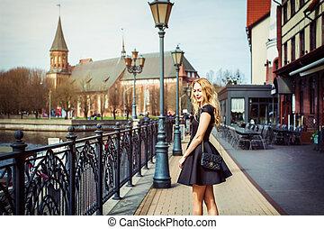 bonito, cidade, andar, rua, menina