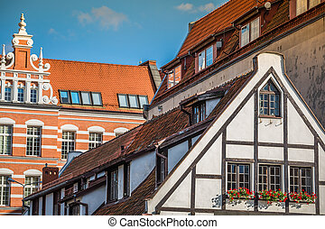 bonito, cidade, antigas,  Gdansk, Polônia, arquitetura