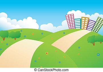 bonito, cidade, colinas verdes