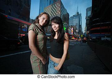 bonito, cidade, meninas, dois, york, novo