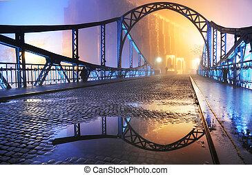 bonito, cidade, ponte velha, noturna, vista