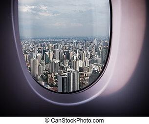 bonito, cidade, vista janela
