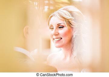 bonito, cima., fazer, jovem, cima, cabelo, noiva, retrato casamento, woman., style.