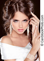 bonito, cima., morena, hairstyle., beleza, jewelry., foto, fazer, elegante, menina, bride., estúdio, modelo, moda, posing.