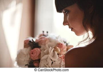 bonito, cima., mulher, nails., beleza, noiva, jewelry., fazer, casório, moda, girl., dress., luxo, manicured, retrato, vestido branco, menina