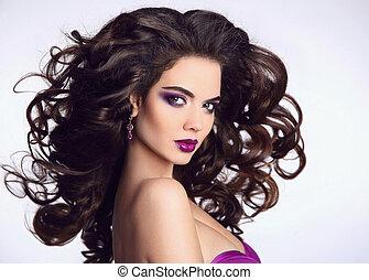 bonito, cima., penteado, soprando, beleza, mulher, saudável, fazer, modelo, sombra, makeup., isolado, experiência., luminoso, morena, portrait., longo, hair., menina, branca, anunciando