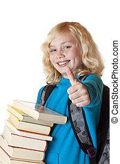 bonito, cima., polegar, segura, jovem, loura, livros, menina