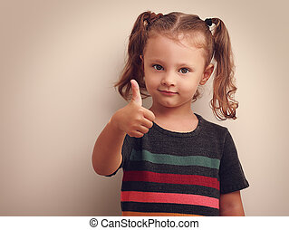 bonito, cima., polegar, vindima, mostrando, pequeno, retrato, menina sorridente, criança
