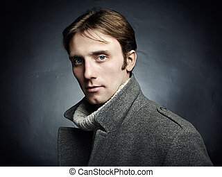 bonito, cinzento, coat., jovem, cima, escuro, artisticos, retrato, fim, homem