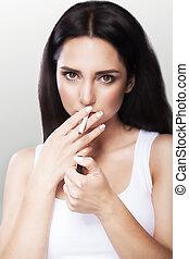 bonito, cinzento, conceito, cigarette., jovem, experiência., saúde, fumar, care., menina, bar.