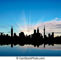 bonito, cityscape, silueta, amanhecer, fundo