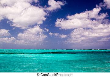 bonito, claro, mar do caribe, água, com, céu azul, e, nuvens, horizonte