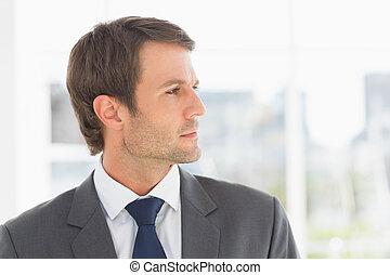 bonito, close-up, jovem, homem negócios