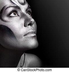 bonito, close-up, mulher, bodyart, retrato, prata