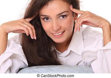 bonito, close-up, mulher, jovem, retrato, sorrindo