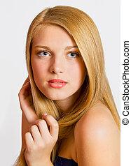 bonito, close-up, mulher, saudável, jovem, cabelo, retrato, ...