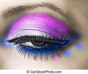 bonito, close-up, olho, womanish
