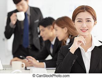 bonito, colegas, mulher, fundo, negócio