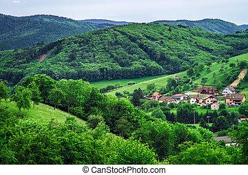 bonito, colinas verdes, em, pequeno, vila