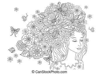 bonito, coloração, seu, cabelo, menina, flores, página