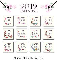 Calendario Dezembro 2019 Bonito.Coloridos Printable 2019 Bonito Calendario Flores