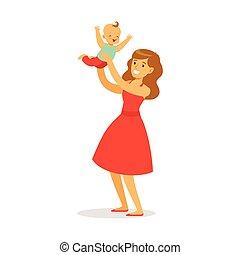 bonito, coloridos, dela, vestido, jovem, junto, tocando, bebê, vetorial, ilustração, mãe, divertimento, adorável, tendo, vermelho