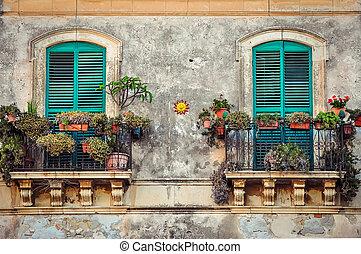 bonito, coloridos, vindima, portas, flores, sacada